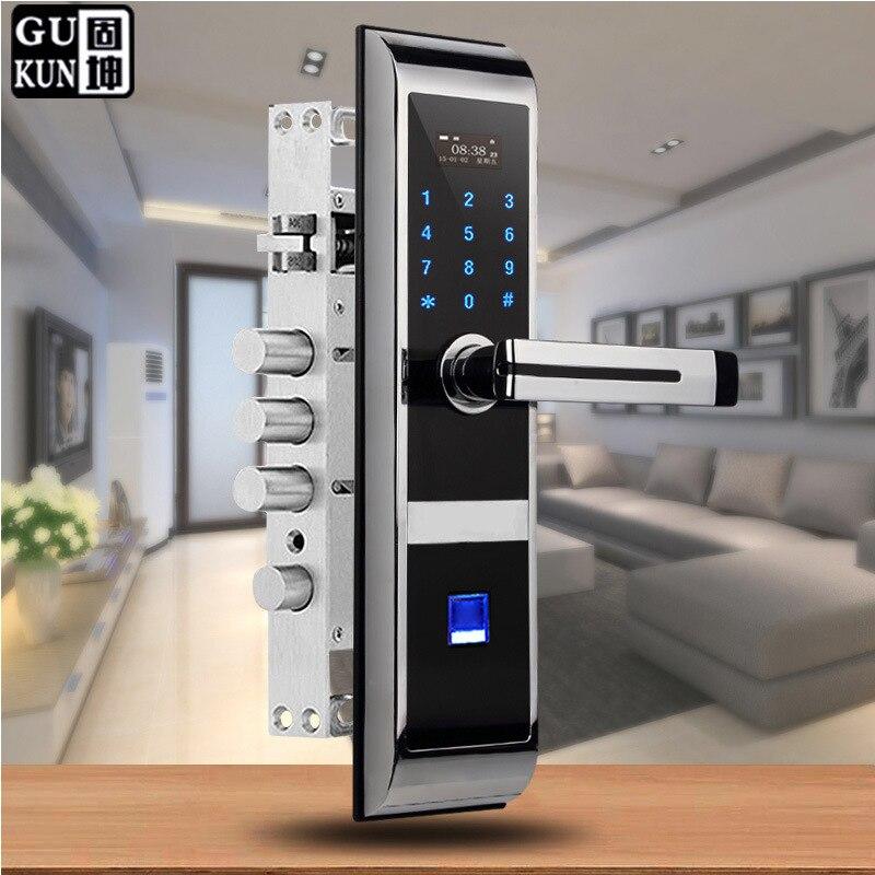 Five in One Smart Anti-Theft Door Lock Fingerprint Electronic Password Lock-Card Swiping APP Unlock Fully Automatic Door Lock Wh