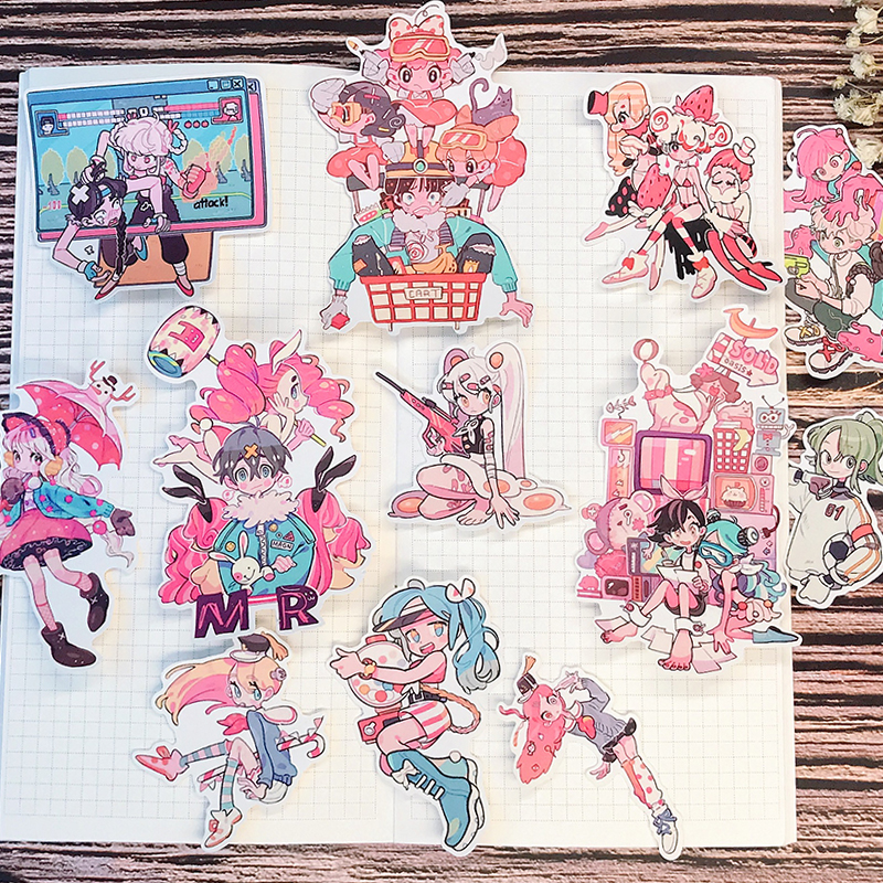 12PCS Japanese Anime Girl Team Hand Account Sticker Refrigerator Suitcase Skateboard Mobile Phone Stickers Diy