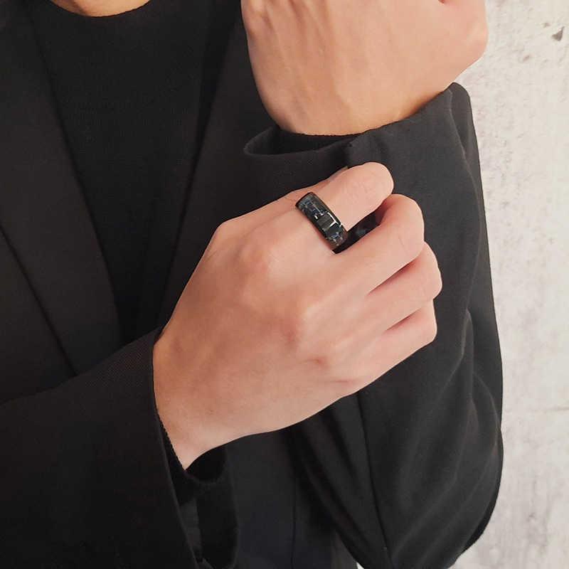 Vnox 8mm אישית סיבי פחמן טבעת לגבר חקוק עץ של חיים נירוסטה זכר ברית מזדמן אישית תכשיטים להקה
