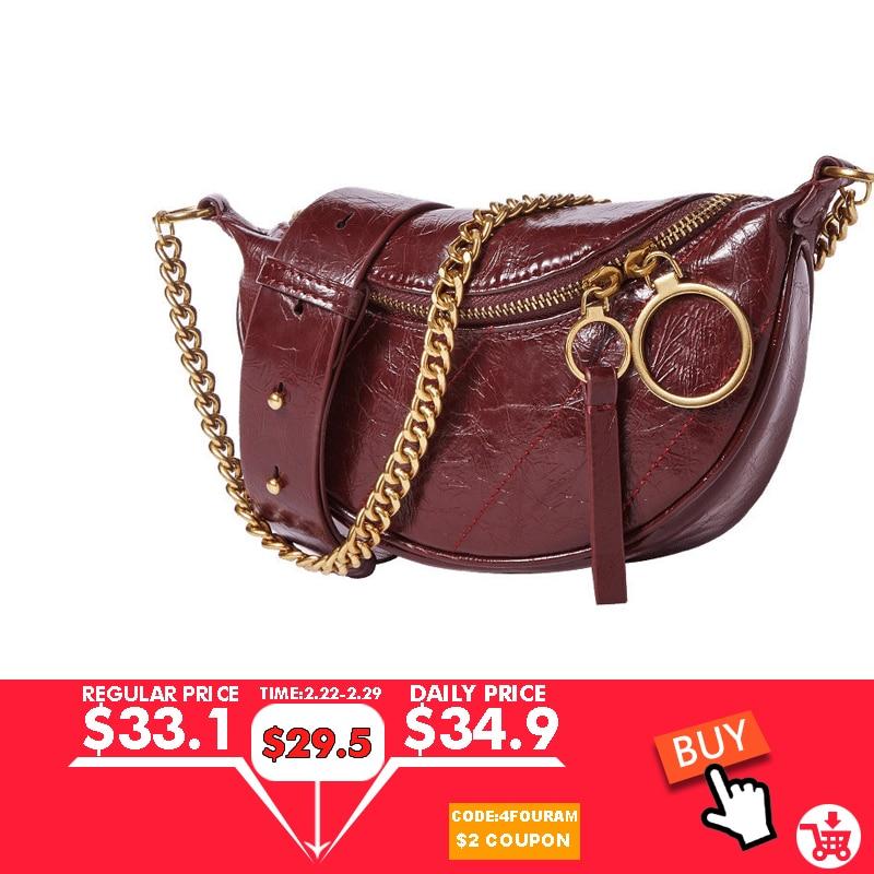 Women's Waist Packs Genuine Leather Semi-circle Cowhide Saddle Chest Bag  Fashion Purse Half Moon Brand Luxury Handbag And Purse