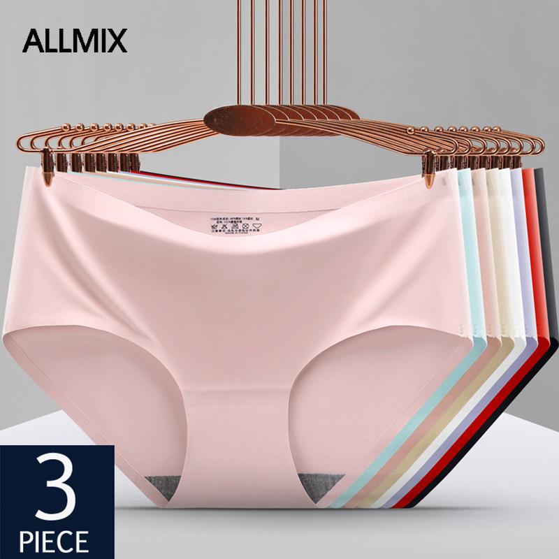 ALLMIX 3Pcs/Lot Sexy Women's SPorts Panties Sets Underwear Seamless Comfortable Underpants Low Waist Female Briefs Lady Lingerie