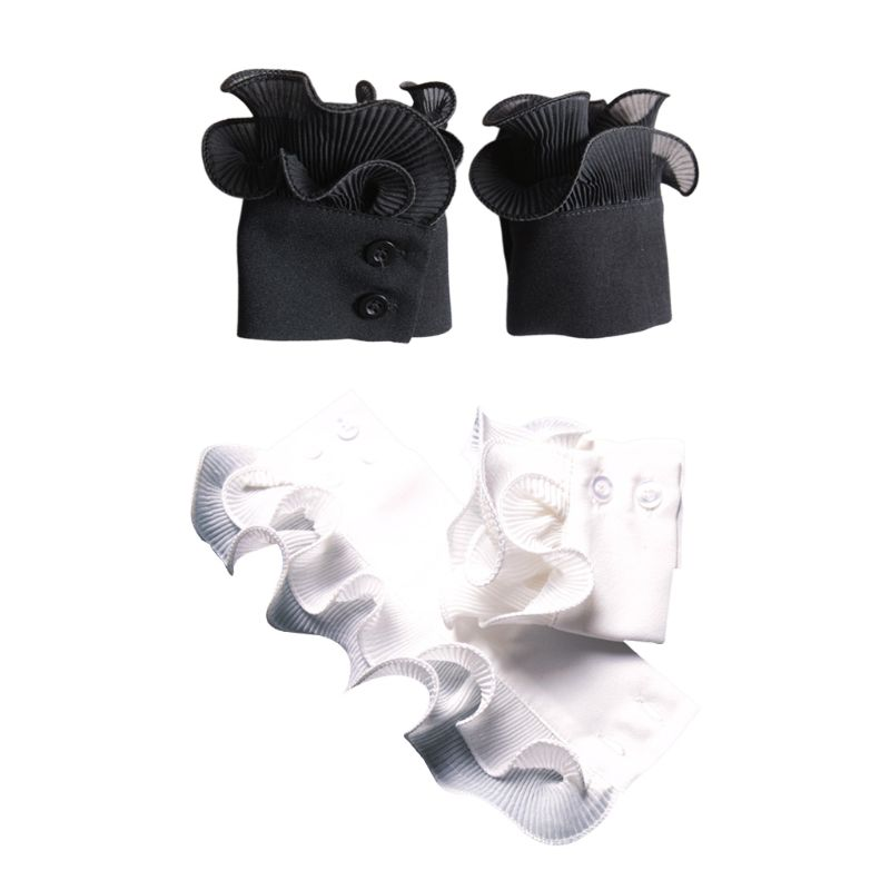 Ladies Decorated Horn Cuffs Fake Sleeves Double Layer Pleated Ruffles Warmers