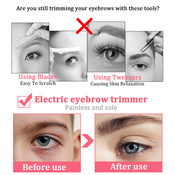 Electric Eyebrow Trimmer Makeup Painless Eye Brow Epilator Portable Facial Hair Remover Mini Eye Brow
