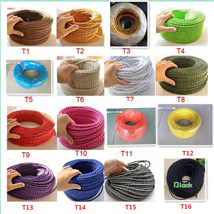 2*<font><b>0.75</b></font> Copper Cloth Covered Wire Vintage Style Edison Light Lamp Cord Grip Twisted Fabric Lighting Flex Electric <font><b>Cable</b></font> image
