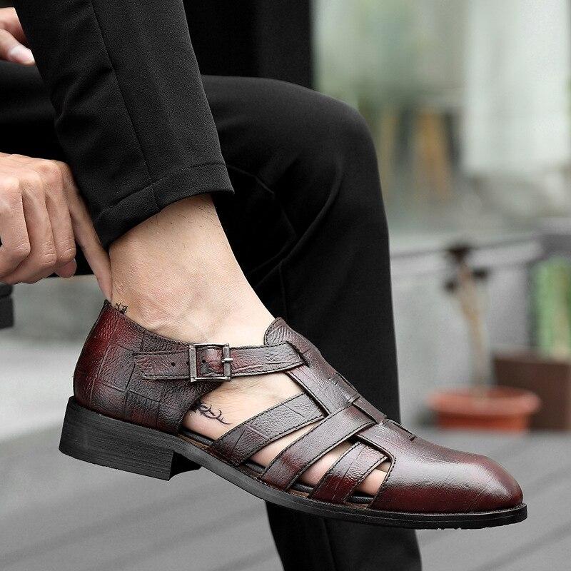 apontado toe negócios casual fivela sapatos lazer