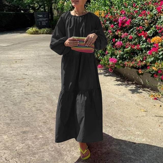 Фото пляжное длинное платье vonda 2021 повседневное женское однотонное