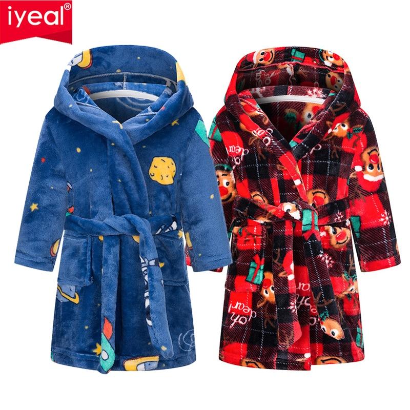 IYEAL Kids Bathrobe Flannel Sleepwear Baby Boys Robes For Girls Clothing Winter Warm Home Wear Children Robes Clothing Sleepwear 1
