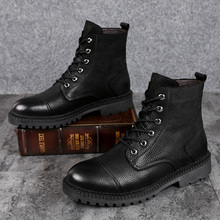 spring Winter ankle Boots For Men Black High Top Men Casual Shoes