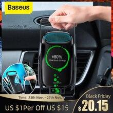 Chargeur de voiture sans fil Baseus 15W Qi pour iPhone 11 XS support de voiture à Induction électrique charge sans fil rapide avec support de téléphone de voiture