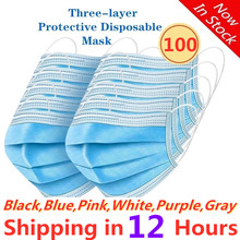 Mask Surgical-Masks Disposable Mouth 3-Layer Adult 100pcs Protective Ply Breathable Nonwove