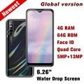 Y7 quad core глобальная версия смартфонов 4 Гб 64 Гб 13MP капли воды экран android Мобильные телефоны face ID разблокирована celulares 6,26
