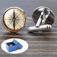 Compas boutons de manchette Vintage boussole horloge voilier motif alliage boutons de manchette pour hommes cadeau verre Cabochon (ce n'est pas une vraie boussole)