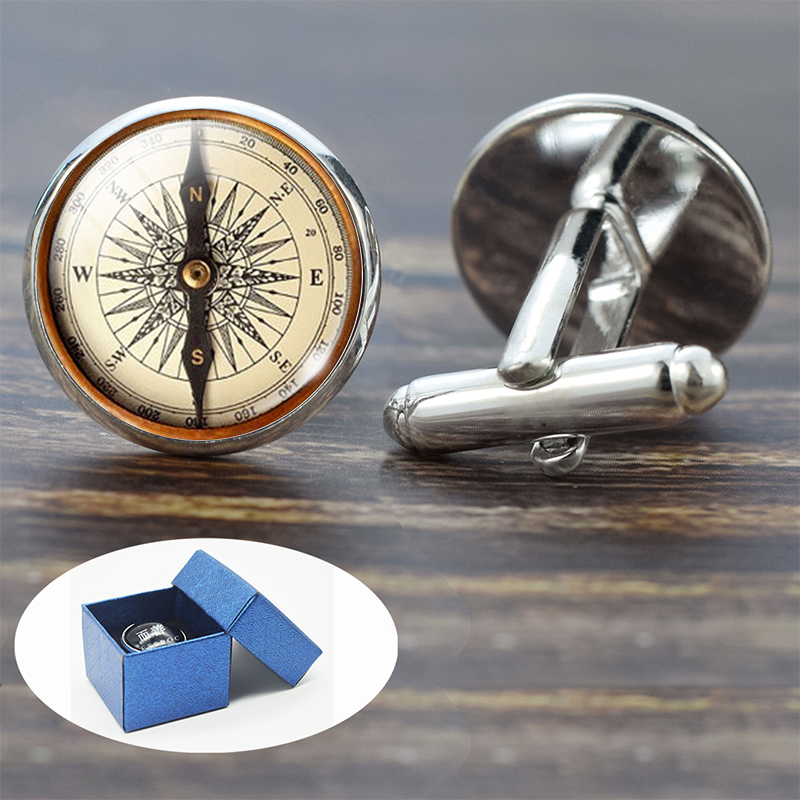 Compass Cuff Links Vintage Compass Clock Sailboat Pattern Alloy Cuff Links For Men Gift Glass Cabochon (It's Not A Real Compass)