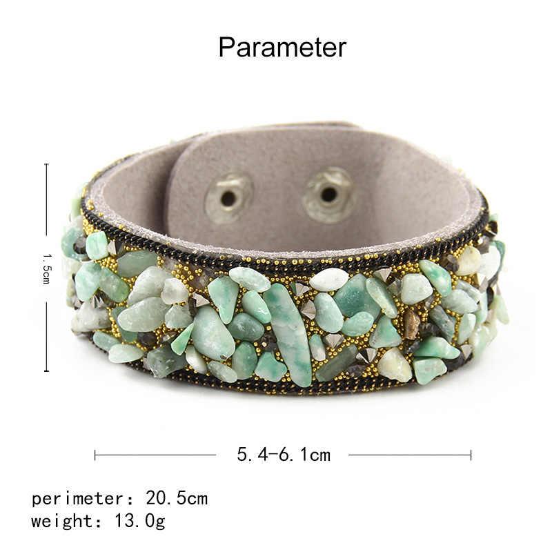 2019 kamienne bransoletki dla kobiet Wrap mankiet Slake skórzane bransoletki z kryształem Rhinestone para natura bransoletki biżuteria