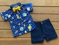 Ropa de verano para bebé, traje Formal de boda para niño y bebé, camisa de manga corta de dibujos animados + Pantalones cortos, conjuntos de ropa, 1-5T, 2019