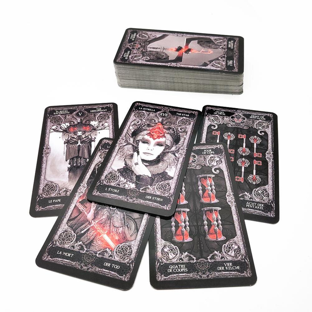 78pcs Dark Tarot Cards English Mysterious Divination Women Card Board Games For Personal Use Playing Cards Table Deck Game