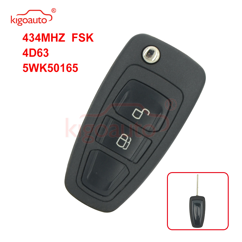 Kigoauto 5WK50165 Flip key 2 button 434mhz FSK 4D63 chip for Ford Ranger 2011 2012 2013 2014 2015