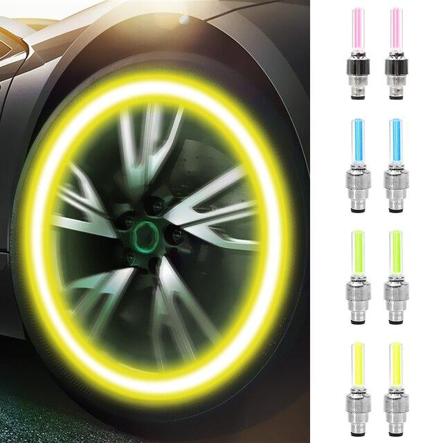 FORAUTO 2PCS Car Wheel LED Light Motocycle Bike Light Tire Valve Cap Decorative Lantern Tire Valve Cap Flash Spoke Neon Lamp 2