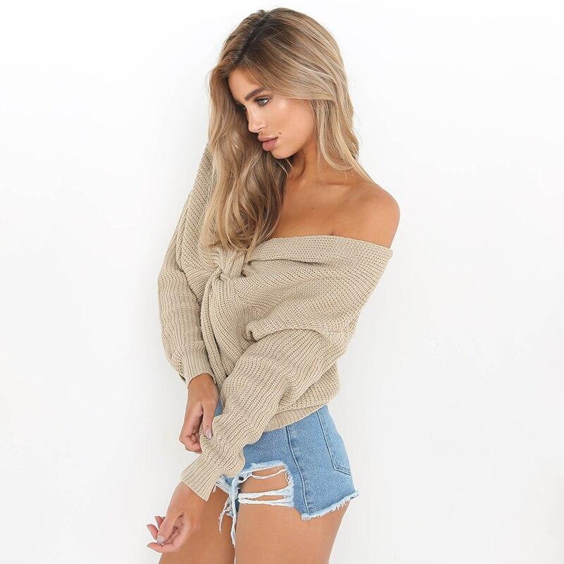 Женский вязаный свитер с длинными рукавами Свободный пуловер