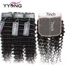 Zestawy głębokich fal Yyong z zamknięciem, zamknięcie 7x7 z wiązkami brazylijskie ludzkie włosy splot wiązki z przednim zamknięciem Remy