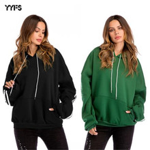 Plus Size Womens Thicken Hoodies Solid Color Crew Neck Long Sleeve Loose Fashion Streetwear