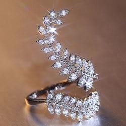 HUAMI regulowane pierścienie dla kobiet kolor srebrny Para Mujer akcesoria cyrkon prezent na walentynki biżuteria pierścionki