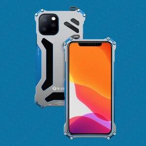 Image 1 - יוקרה מתכת שריון מקרה עבור iPhone 12 מקס 12 פרו 11 פרו מקסימום להגן על כיסוי עבור iPhone 11ProMax קשה עמיד הלם Coque