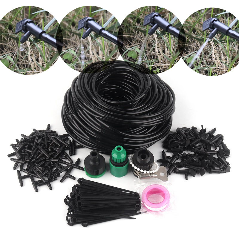 10~50m Watering Kits 4L Black Flag Drippers with 4/7mm Hose Holder Garden Micro Irrigation Kits