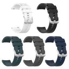 22mm Silicone Wrist Strap Watch Band with Steel Buckle for A