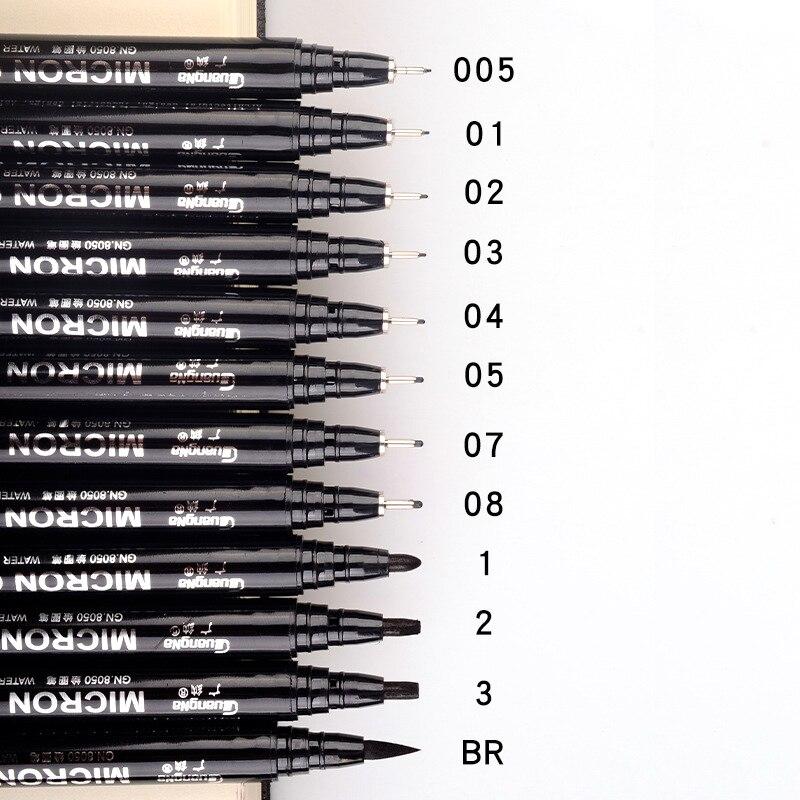 12 pçs/set Neelde Pigmento Preto Forro à prova de Água-Micron PenTip Belas Liner Arte Marcador Caneta Caneta Esboço Gancho para Mangá