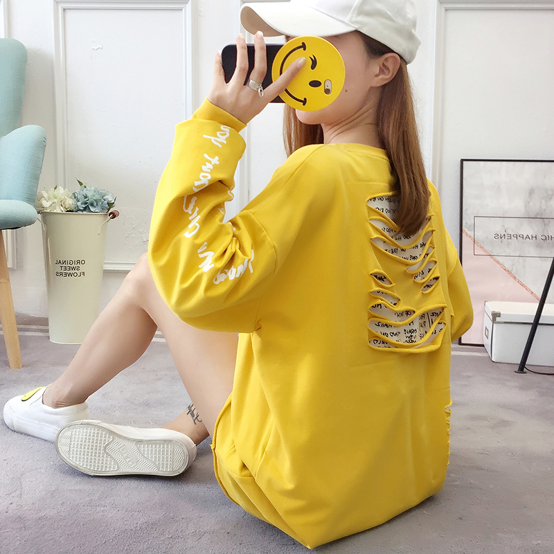 2019 autumn new Korean version of the XL T-shirt women's thin section long-sleeved loose hole wild T-shirt shirt women 56