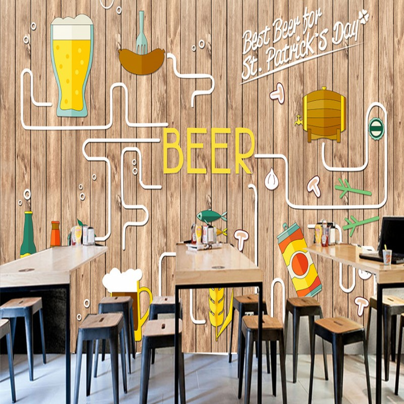 Drop Shipping Wallpaper 3d Custom Europe American Hand Painted Wooden Beer Fried Chicken Mural Bar Barbecue Shop Wallpaper image