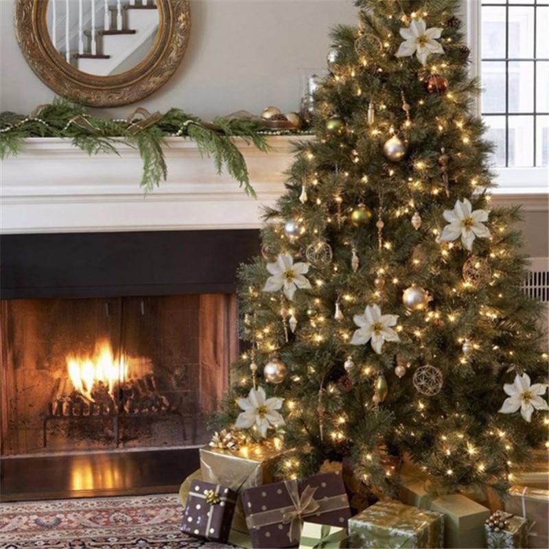 1 sztuk sztuczne świąteczne kwiaty brokat sztuczny kwiat wesołych ozdoby na choinkę dla domu 2020 prezent ozdoba bożonarodzeniowa Navidad