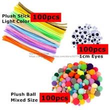 Toys Plush-Stick Wool-Ball Handmade-Materials DIY Girls Boy BS94 Pompoms Eyes Kindergarten