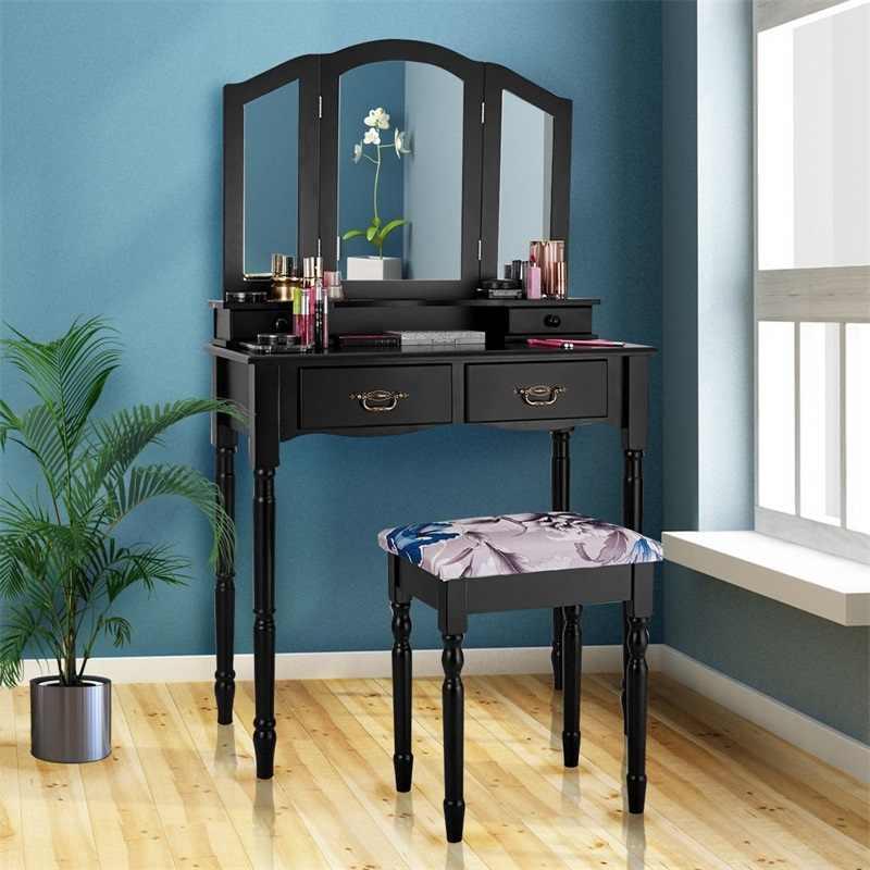 ไม้สน Vanity แต่งหน้าโต๊ะสตูลชุด 2 ลิ้นชักคุณภาพสูงแผง MDF ไม้ขาดอกไม้รูปแบบตาราง