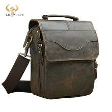 """Original Leather Male Fashion Casual Tote Messenger bag Design Satchel Crossbody One Shoulder bag 8"""" Tablet Case For Men 144 d"""