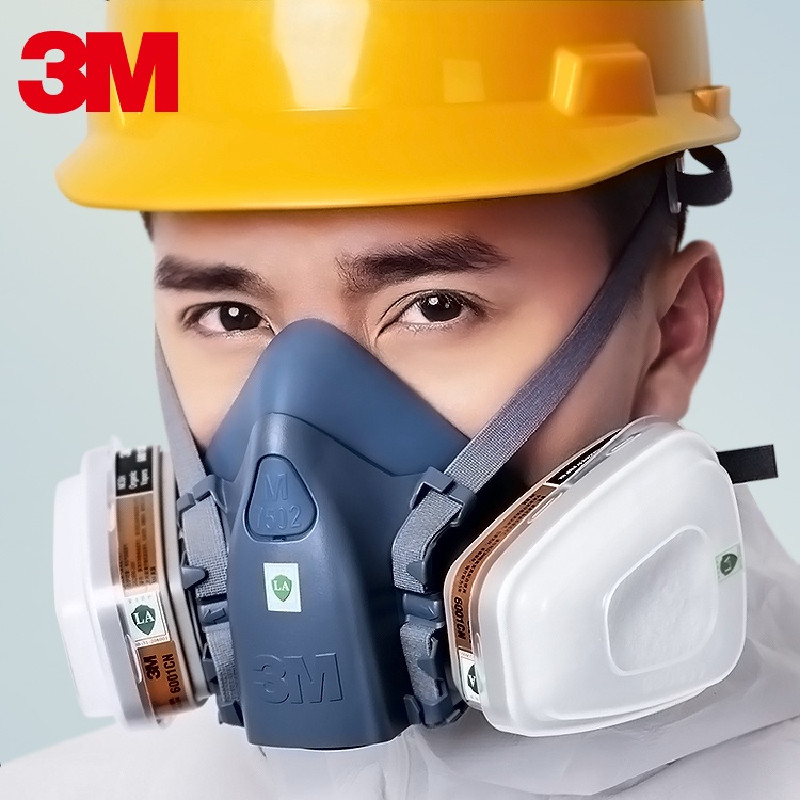 <font><b>3M</b></font> 7 in 1 suit 7502/6502 half face gas mask with 2pcs <font><b>6001</b></font> Filter Cartridge for respiratory protection of Paint Chemical Gas image