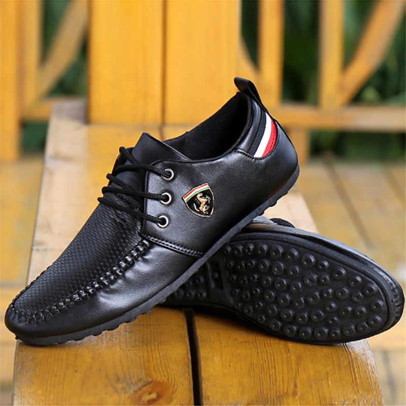 2020 Ademend Effen Kleur Slip Mannen Rijden Schoenen En Najaar Nieuwe Stijl Ademende Mannen Peas Schoenen De Britse sneakers