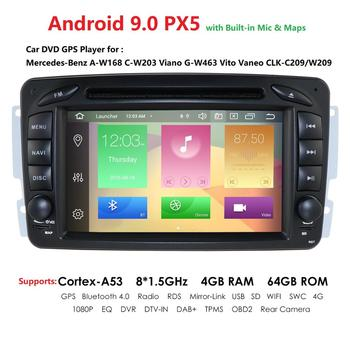 "DSP IPS 7""Android 9.0 Car DVD Player For Mercedes Benz CLK W209 W203 W463 W208 Wifi 4G GPS Bluetooth Radio Stereo audio media PC"