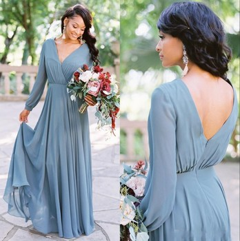 Bohemia V Neck Blue Chiffon Long Bridesmaid Dresses Long Sleeves Ruched Floor Length Plus Size Wedding Guest Maid of Honor Dress plus size royal blue bridemaid dresses sheer o neck lace applique high side split wedding guest dress maid of honor gowns
