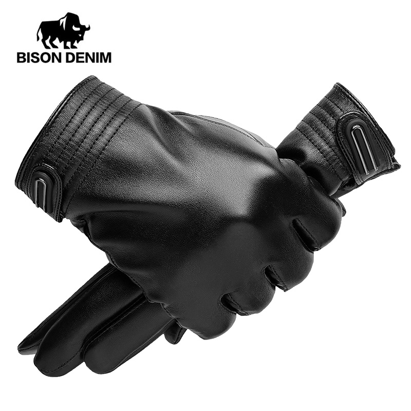 BISON DENIM Windstopers Gloves PU Leather Windproof Thermal Warm Touchscreen Glove Breathable Tactico Winter Men Gloves S023
