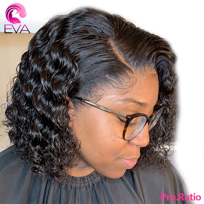 Eva Curly 4.5*4.5 Silk Base Lace Front Human Hair Wigs Pre Plucked Short Bob Brazilian Remy Hair With Baby Hair For Black Women