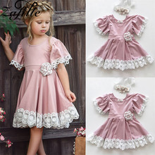 ZAFILLE 2020 Baby Girl Clothes Pink Princess Dress Flare Sleeve Girls Clothing Summer Lace Toddler Kids Dresses