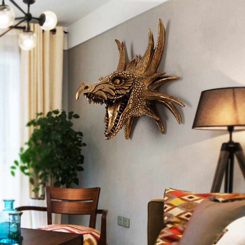Creative Retro Animal Head Wall Decoration Hotel Living Room Home Dinosaur Head Wall Hanging Decoration Pendant Accessorise Gift