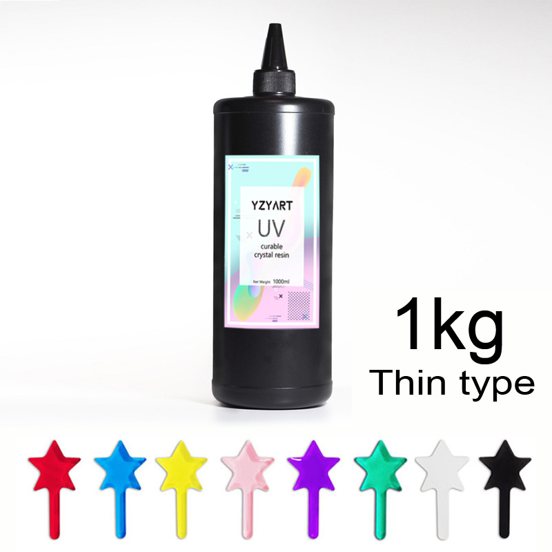 Colored UV Resin Hard Ultraviolet Curing Resin Solar Cure Sunlight Activated Kawaii Crafts Transparent Clear Large Gram 1kg