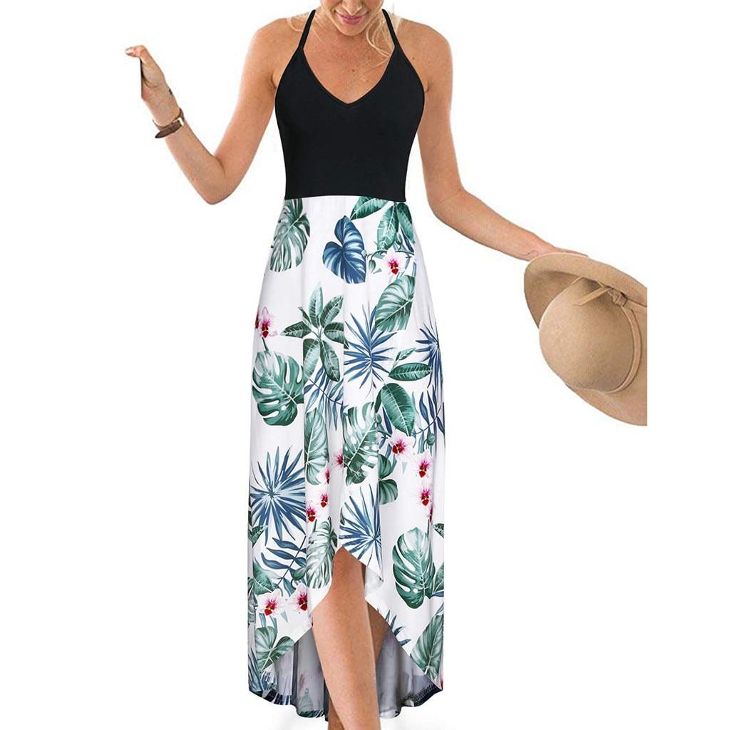 Nice Sexy Spaghetti With Sleeveless Long A-line Skirt Women Print High Waist Bohemian Skirt Beach Party Skirt