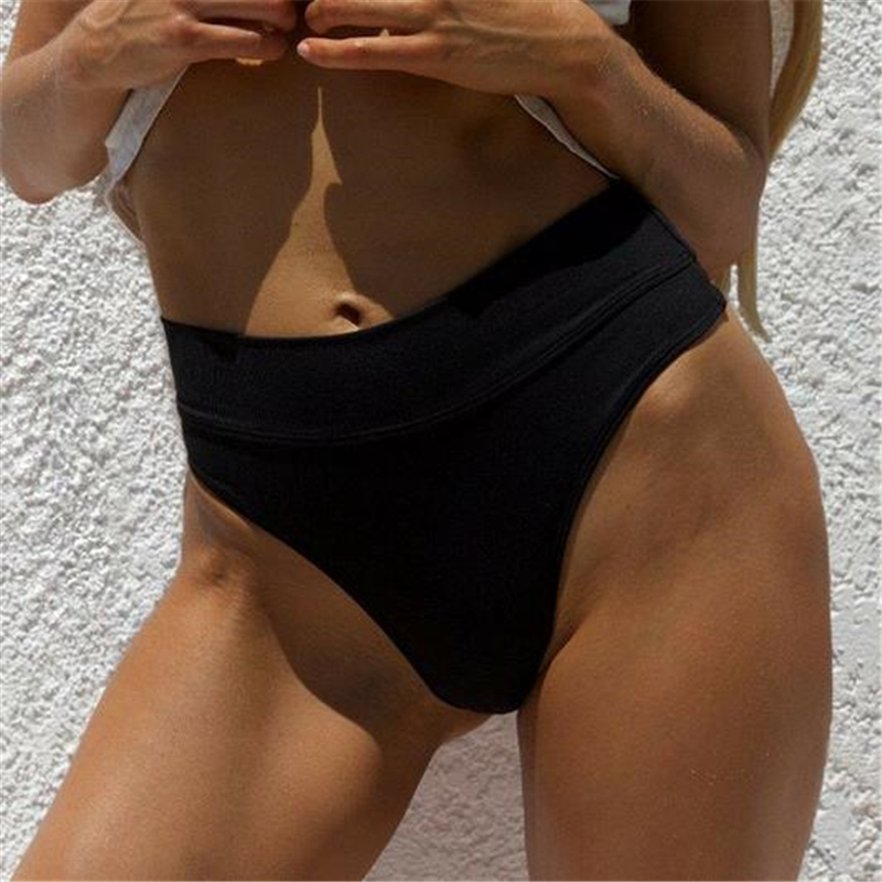 Brazilian Bottom Women Ladies High Waist Thong Cheeky Ruched Bikini Bottom Swimwear Solid Color Beachwear Women Swimming Trunks