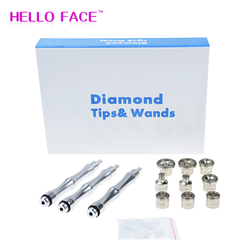 Dermabrasion Tips Set Dermabrasion Replacements 3 Wands 9 Tips Cotton Filter For Facial Peeling Face Skin Care Beauty Machine