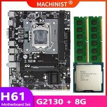 H61 placa-mãe lga 1155 conjunto kit com processador cpu intel pentium g2130 e 8gb (2*4gb) ddr3 desktop memória ram usb2.0 H61M-S1