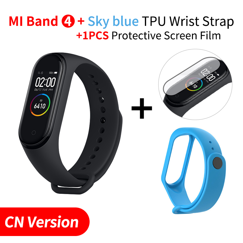 Xiaomi mi Band 4 Smart mi band 3 Цвета экран Браслет фитнес-трекер для измерения сердечного ритма Bluetooth 5,0 водонепроницаемый банда4 - Цвет: Add Skyblue Strap